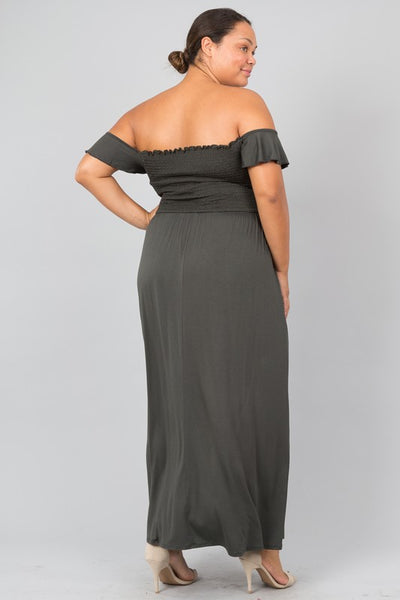 Final Sale Curvy Off Shoulder Short Sleeve Gathered Waist Maxi Dress - Superior Boutique