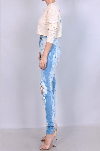 Curvy High Waist Multi Color Painted Skinny Jean - Superior Boutique