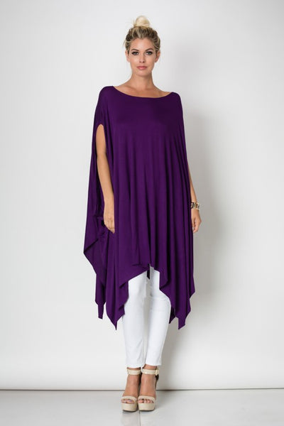 Final Sale Oversized Handkerchief Hem Poncho Top