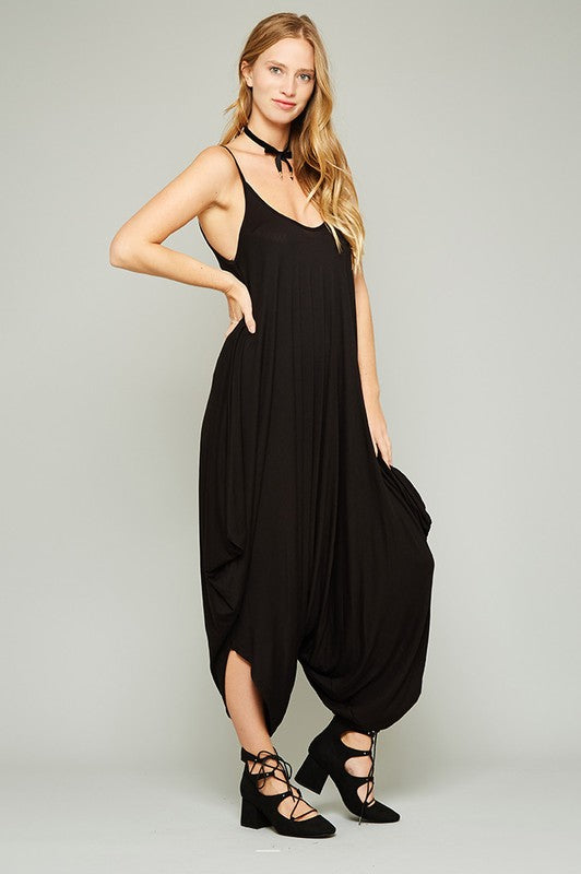 Spaghetti String Strap Low Back Dropped Crotch Harem Jumpsuit - Superior Boutique