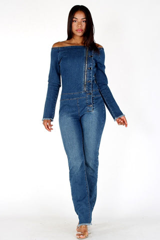 Denim Off Shoulder Jumpsuit - Superior Boutique