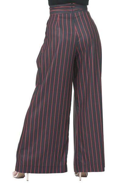 Curvy Striped Pleated Detail Palazzo Pants