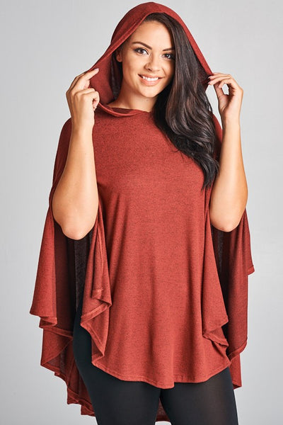 Curvy Hooded Poncho Cardigan - Superior Boutique
