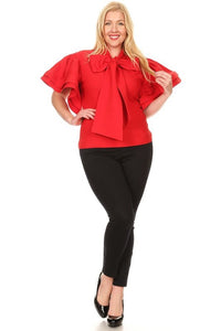 Curvy Solid Short Ruffle Sleeve Top - Superior Boutique