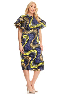 Curvy Abstract Printed Midi Dress - Superior Boutique