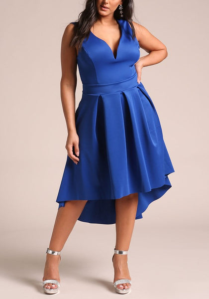Curvy Plunge Flared Hi-Lo Casual Day Dress - Superior Boutique