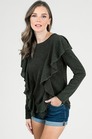 Ruffled Sweater Top - Superior Boutique