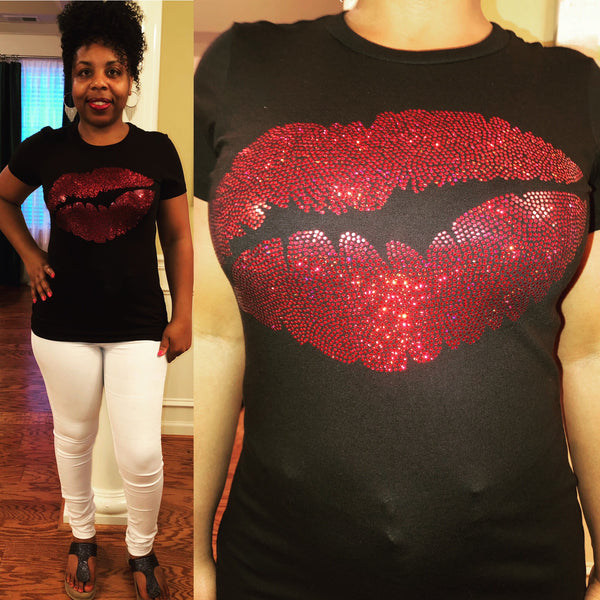 Sexy Red Lips Bling Shirt - Superior Boutique