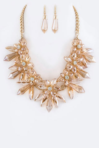 Flattering Beaded Crystal Flower Necklace Set - Superior Boutique