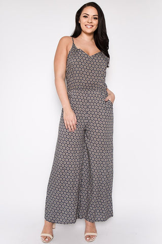 Final Sale Curvy Geo Print Jumpsuit - Superior Boutique