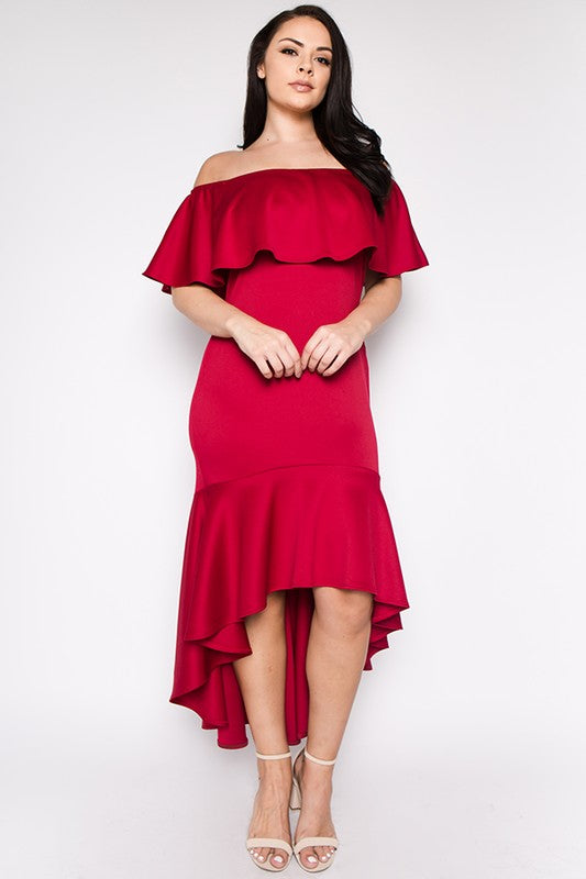 Final Sale Curvy Ruffle Flounce Off Shoulder Dress