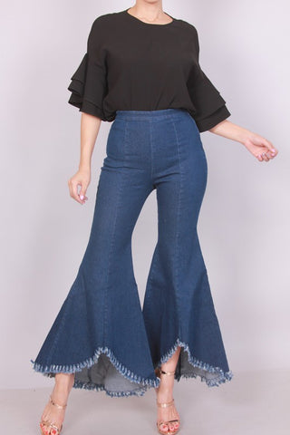 High Waist Flare Bell Bottom Denim Pants - Superior Boutique