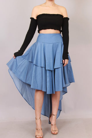 Final Sale Chambray Ruffle High Low Skirt