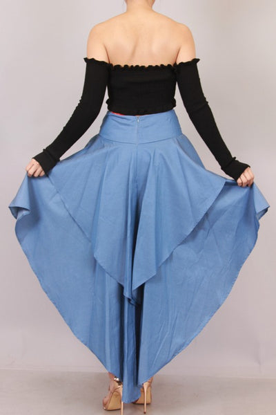 Chambray Ruffle High Low Skirt