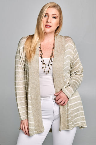 Curvy Open Front Striped Cardigan - Superior Boutique