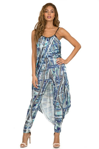 Final Sale Drop Crotch Double Layer Overlay Print Jumpsuit