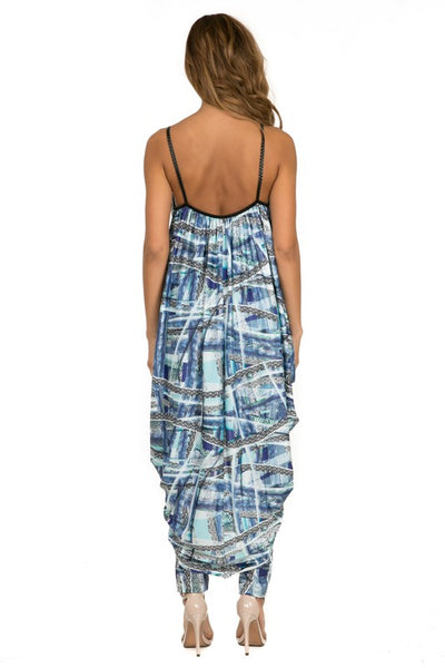 Drop Crotch Double Layer Overlay Print Jumpsuit