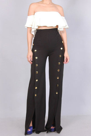 High Waist Gold Button Wide Leg Pants