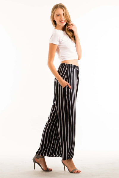 Striped Full Length Wide Legged Pants - Superior Boutique