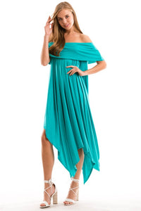 Off Shoulder Handkerchief Hem Dress with Pockets - Superior Boutique