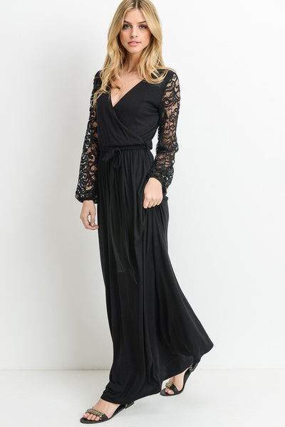 Maxi Lap Dress With Lace Sleeves - Superior Boutique