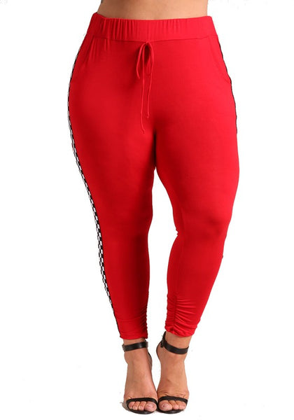Final Sale Curvy Checkered Jogger Pants - Superior Boutique