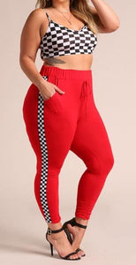 Final Sale Curvy Checkered Jogger Pants