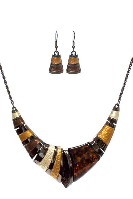 Statement Necklace Set - BROWN