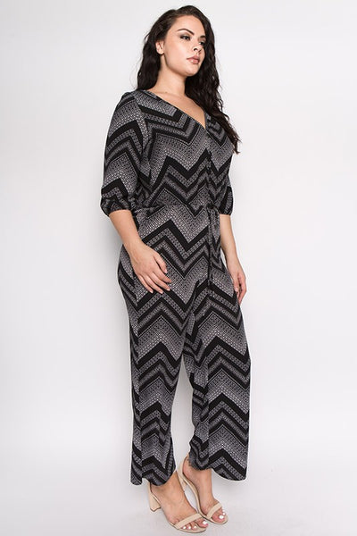Curvy Zig Zag Button Front Jumpsuit - Superior Boutique