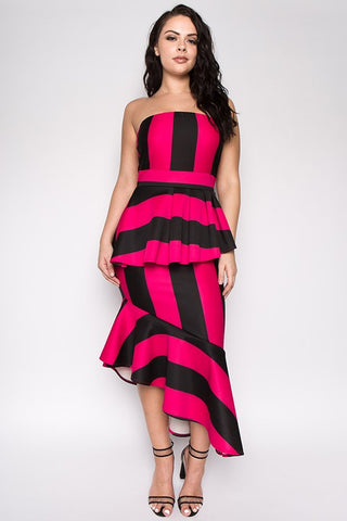 Curvy Stripe Tube Peplum Asymmetrical Dress - Superior Boutique