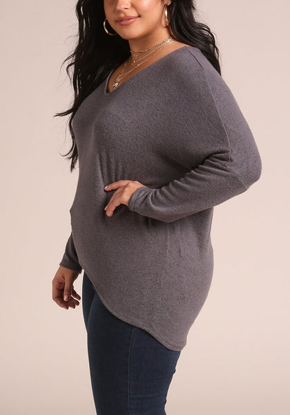 Curvy Soft Marled Pullover Top - Superior Boutique