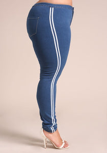 Curvy Side Stripe Skinny Jeans - Superior Boutique