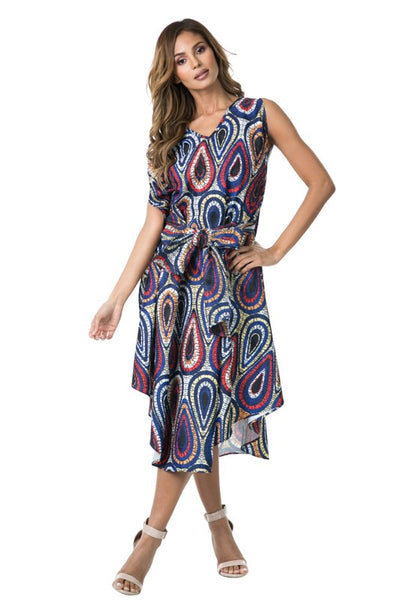 Curvy Waist Bow Tied Sleeveless Asymmetrical Hem Print Dress - Superior Boutique