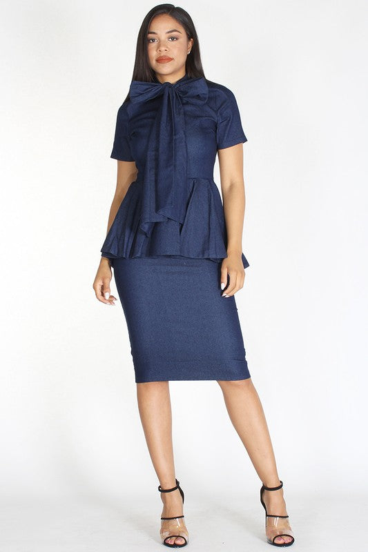 Denim Body Con Dress - Superior Boutique