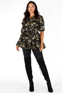 Camo Printed Waist Length Jacket