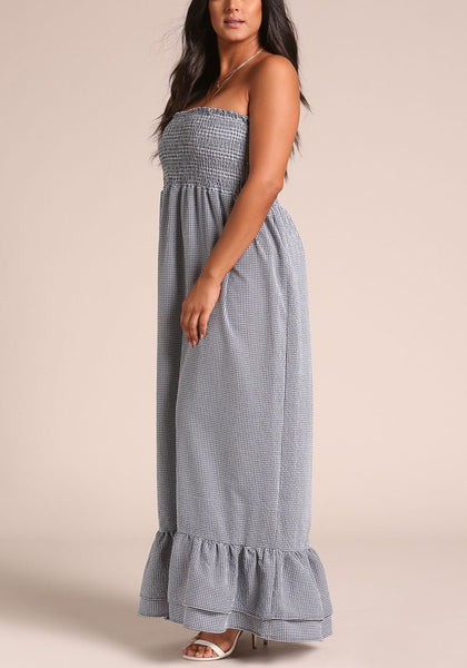 Final Sale Curvy Gingham Smocked Tiered Maxi Dress