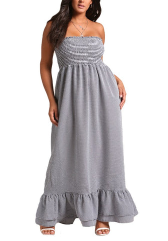 Curvy Gingham Smocked Tiered Maxi Dress - Superior Boutique