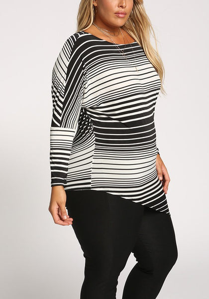 Curvy Monochrome Stripe Knit Top - Superior Boutique