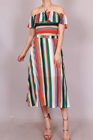 Striped Off Shoulder Halter & Pleated Skirt Two Piece Set
