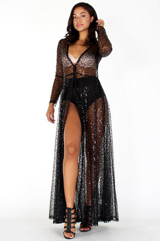 Sequin Mesh Maxi Dress - Superior Boutique