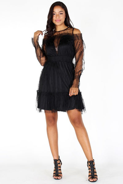 Sheer Mesh Cold Shoulder Midi Dress - Superior Boutique