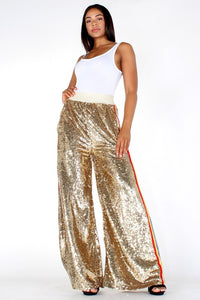 Sequin High Waisted Wide Leg Pants