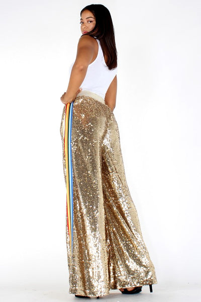 Sequin High Waisted Wide Leg Pants - Superior Boutique
