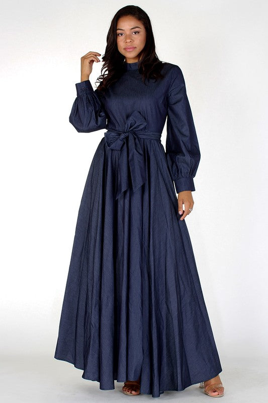 Denim Long Sleeve A-Line Dress With Mock Neck - Superior Boutique