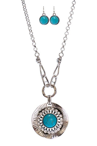 Flower Necklace Set - TURQUOISE