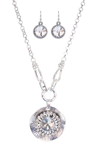 Flower Necklace Set - SILVER