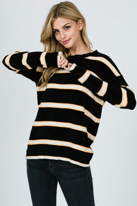 Multi Color Stripe Knitting Sweater - Superior Boutique