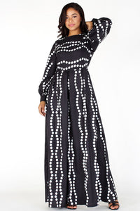 Polka Dot Print Wide Leg Jumpsuit