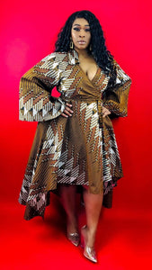 Golden Multi Print Wrap Dress