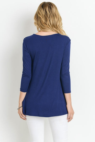 Round Neck Long Sleeve with Lace Trim - Superior Boutique